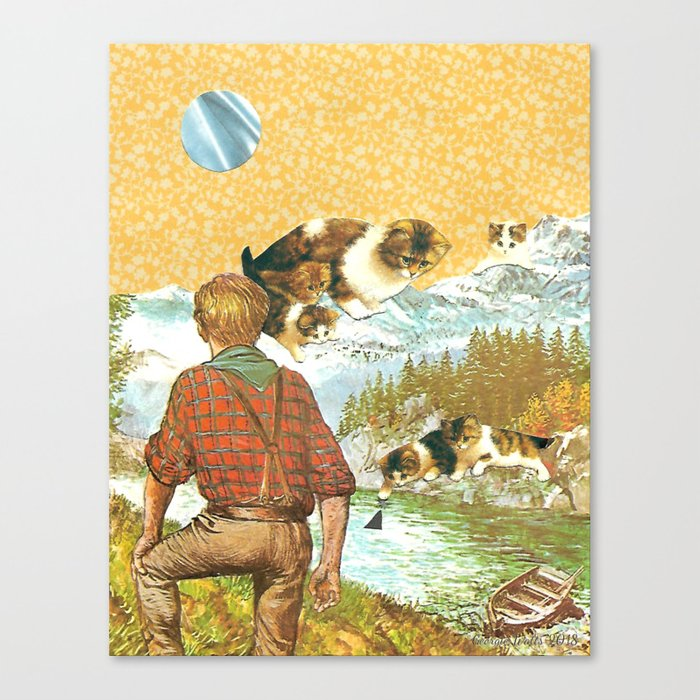 Don't Go Into the Water handcut collage Canvas Print