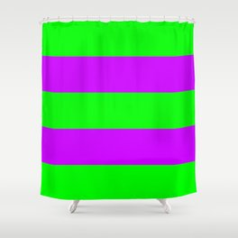 Neon Green & Purple Wide Horizontal Stripes #1 Shower Curtain