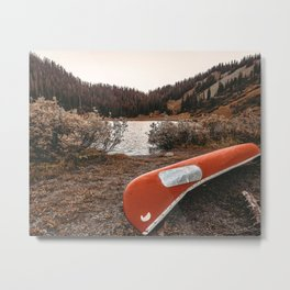 Rustic Autumn Canoe // Dusk Lit Gray Sky Pond Reflection in the Colorado Woodlands Metal Print