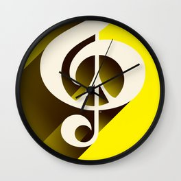 Yellow Retro Shadow Music & Peace Wall Clock