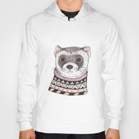 ferret Hoodies featuring Hipster Ferret by Indi Maverick