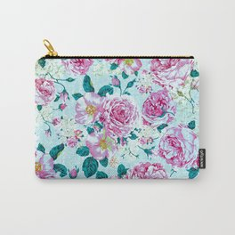 Vintage modern pink green teal watercolor floral Carry-All Pouch