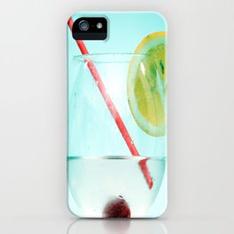 Cocktail with lemon slice, cherry and a straw iPhone Case