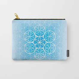THE FLOWER OF LIFE - MANDALA ON BLUE Carry-All Pouch