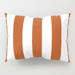 Rust brown - solid color - white vertical lines pattern Pillow Sham