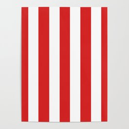 Maximum red - solid color - white vertical lines pattern Poster