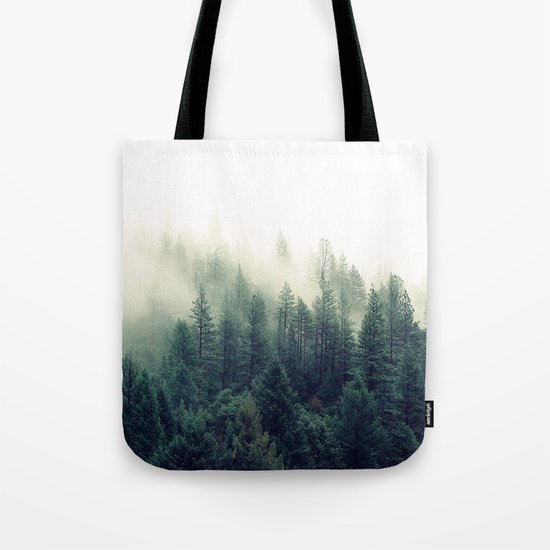 Foggy Winter Forest Tote Bag