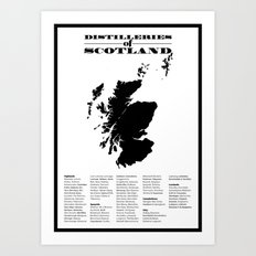Distilleries of Scotland Art Print