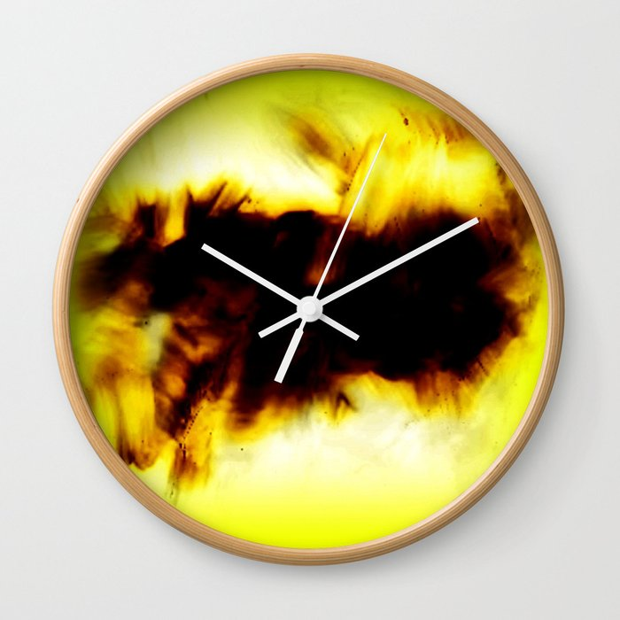 Hole In My Heart Black White Yellow Abstract Wall Clock by ...