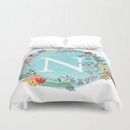 Personalized Monogram Initial Letter N Blue Watercolor Flower Wreath Artwork Duvet Cover