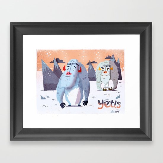 :::Happy Yetis::: Framed Art Print