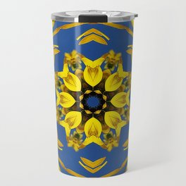 Yellow Coneflower, Ratibida, Kaleidoscope 793 #society6 #kaleidoscope Travel Mug