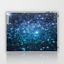 Galaxy Sparkle Stars Periwinkle Blue Turquoise Ombre Laptop & iPad Skin