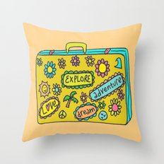 Let's Travel Retro Suitecase Throw Pillow