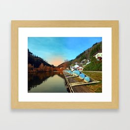 Pontoon landing stages in the harbour | waterscape photography Framed Art Print
