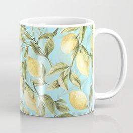 mediterranean summer lemon branches on turquoise Coffee Mug