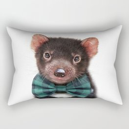 Baby Tasmanian Devil With Bow Tie, Baby Animals Art Print By Synplus Rectangular Pillow