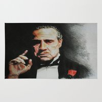 the godfather Area & Throw Rugs featuring The Godfather by Tridib Das