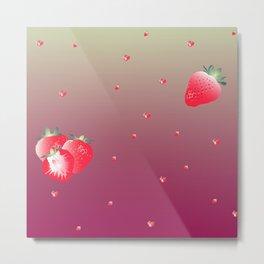 strawberry (aubergine) Metal Print