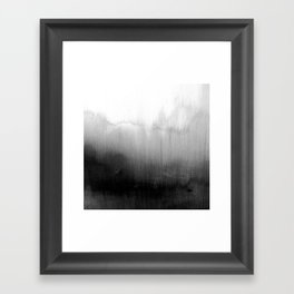 Modern Black and White Watercolor Gradient Framed Art Print