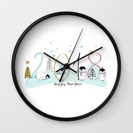 Happy New Year 2018 with penguins Wall Clock