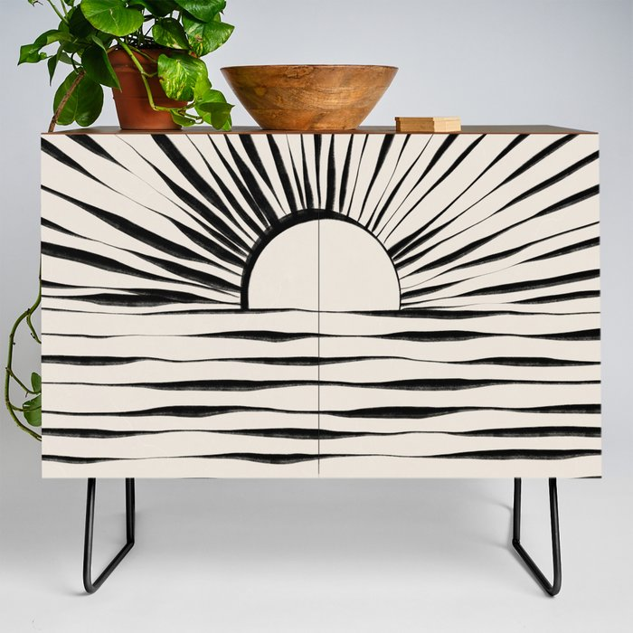 Modern Credenza Cupboard | Minimal Sunrise / Sunset by Alisa Galitsyna - Black - Walnut - Society6