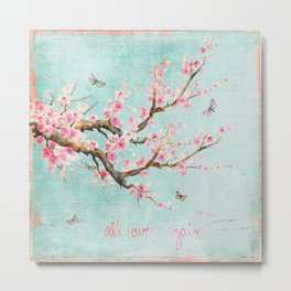 Its All Over Again - Romantic Spring Cherry Blossom Butterfly Illustration on Teal Watercolor Metal Print