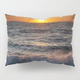 Lake Michigan Sunset with Crashing Shore Waves Pillow Sham