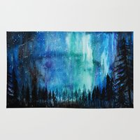 northern lights Area & Throw Rugs featuring Northern Lights by VivianLohArts