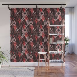 Weaving ikat in red Wall Mural