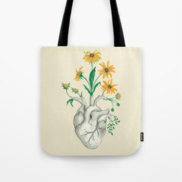 Floral Heart: Sunflower Human Anatomy Halloween Art Tote Bag