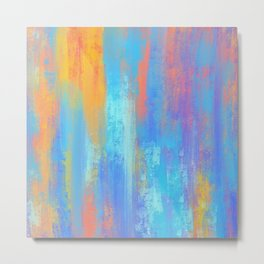 Abstract Blue and Orange Metal Print