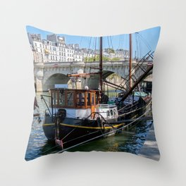 Old barge near the Pont Neuf - Paris Throw Pillow