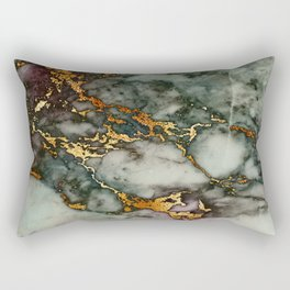 Gray Green Marble Glitter Gold Metallic Foil Style Rectangular Pillow