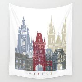 Prague skyline poster Wall Tapestry