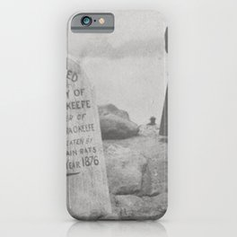 Eaten by Mountain Rats, Erin O'Keefe Epitaph - Pikes Peak Gravestone black and white photograph iPhone Case