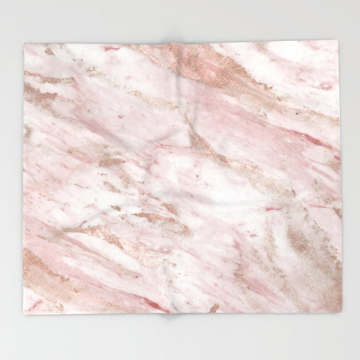 Pink Marble Rose Gold Accents Throw Blanket By Marbleco Society6