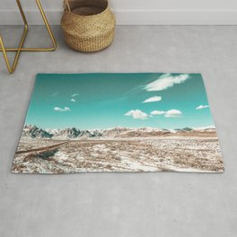 Vintage Desert Clouds // Teal Blue Skyline Mountain Range in the Mojave after a Snow Storm Rug