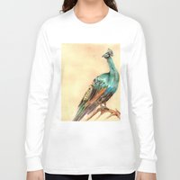 peacock Long Sleeve T-shirts featuring Peacock by Goosi