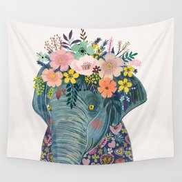Elephant with flowers on head Wall Tapestry
