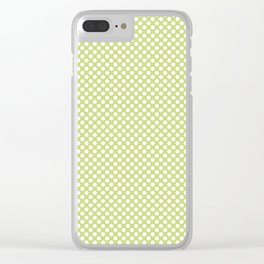 Daiquiri Green and White Polka Dots Clear iPhone Case