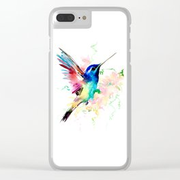 Hummingbird , Blue Turquoise Pink Clear iPhone Case