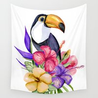 toucan Wall Tapestries featuring Toucan by Julia Badeeva