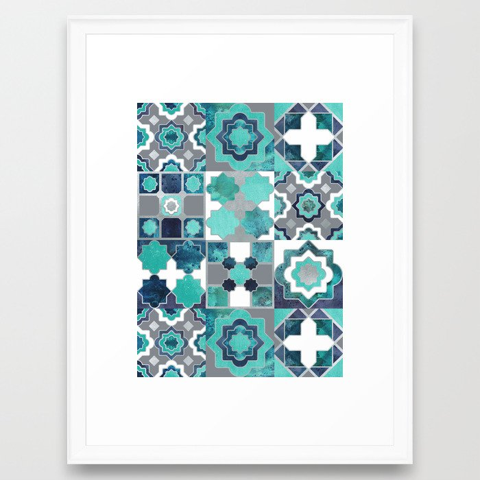 Spanish Moroccan Tiles Inspiration Turquoise Green Silver Lines