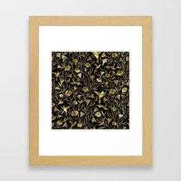 Black and gold foil humming birds & leafs pattern Framed Art Print