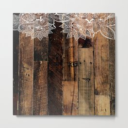 rustic country farmhouse chic vintage lace barnwood Metal Print