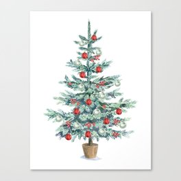 Christmas tree with red balls Canvas Print