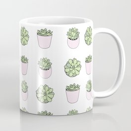 Green and pink suculents in flowerpots Coffee Mug