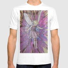 Pink Lady Garden Fairy Art MEDIUM White Mens Fitted Tee