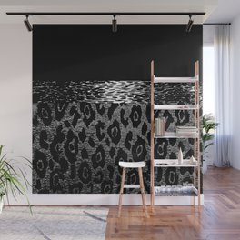 ANIMAL PRINT CHEETAH LEOPARD BLACK WHITE AND SILVERY GRAY Wall Mural